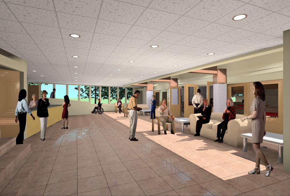 A new, centrally located gathering space will provide easy access to all areas of the church facility for people entering from either side of the building.