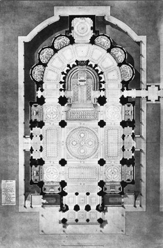 Paul Abadie ; projet pour le concours de 1874 pour l'église du Vœu national au Sacré-Cœur à Paris, plan. (Archives de la basilique du Sacré-Cœur de Montmartre). Phot. Claude Laroche.
