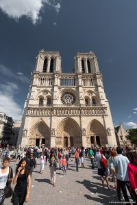 Tourists at Notre-Dame de Paris