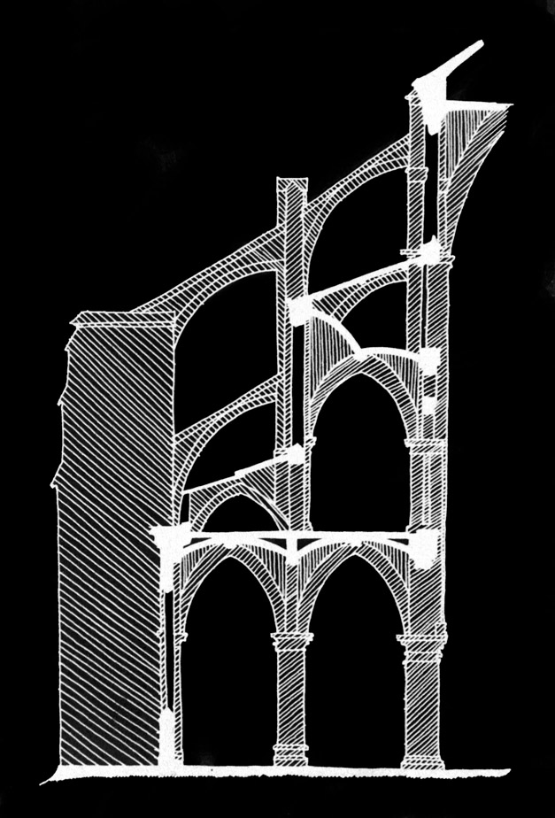 Partial cross section through Notre-Dame de Paris