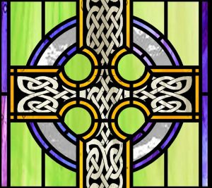 Design detail of a new Reconciliation Room window for St. Athanasius Church in Reading, MA by Artsphere Consulting.