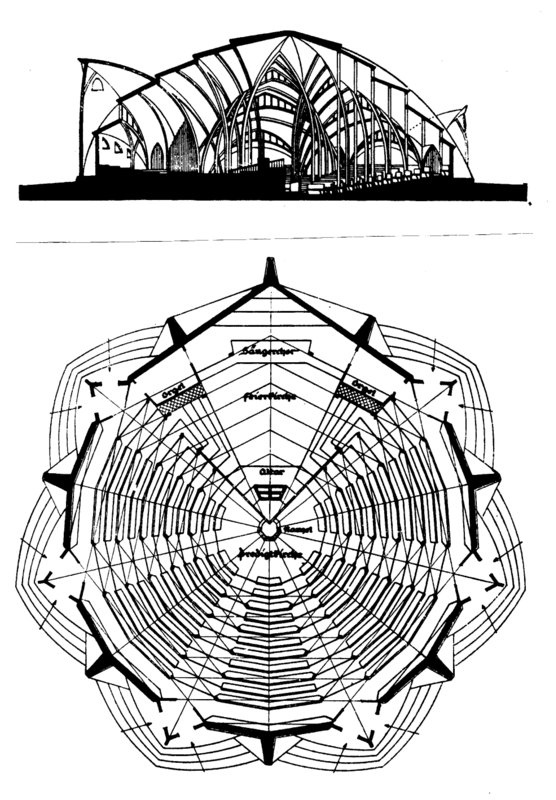 Plan and elevation of Bartning's Stern kirche