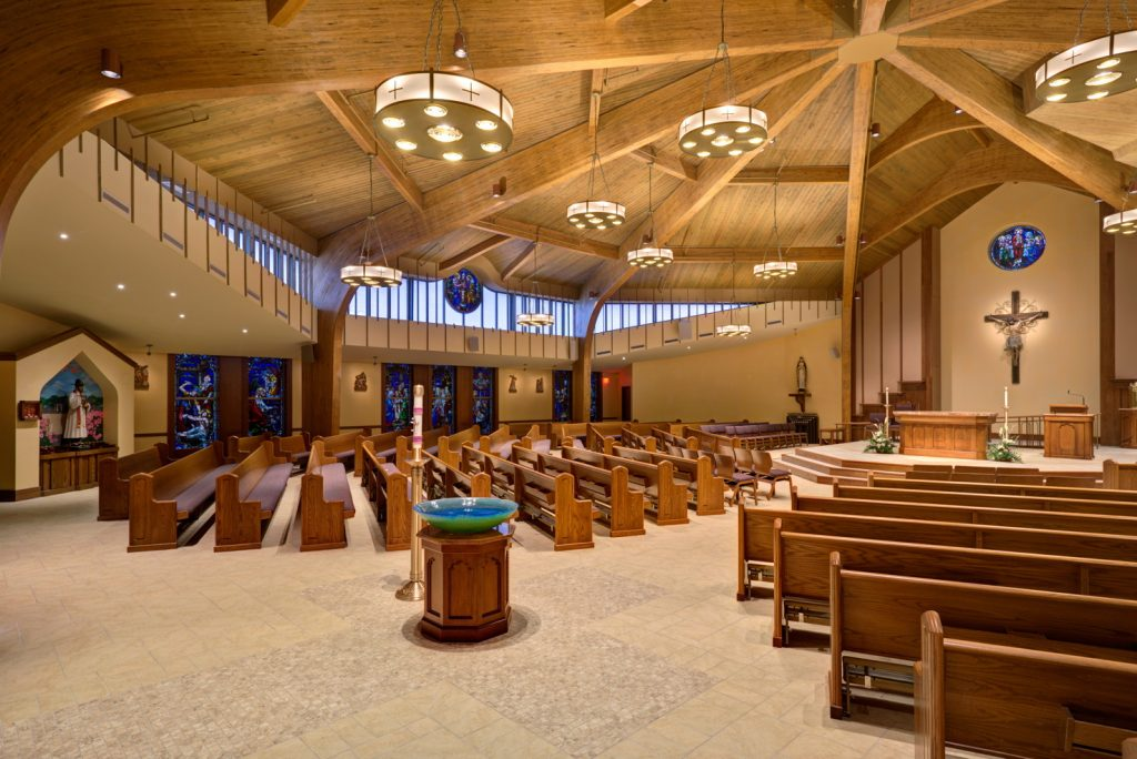 Side view of new worship space at St. Joseph Church by Foresight Architects