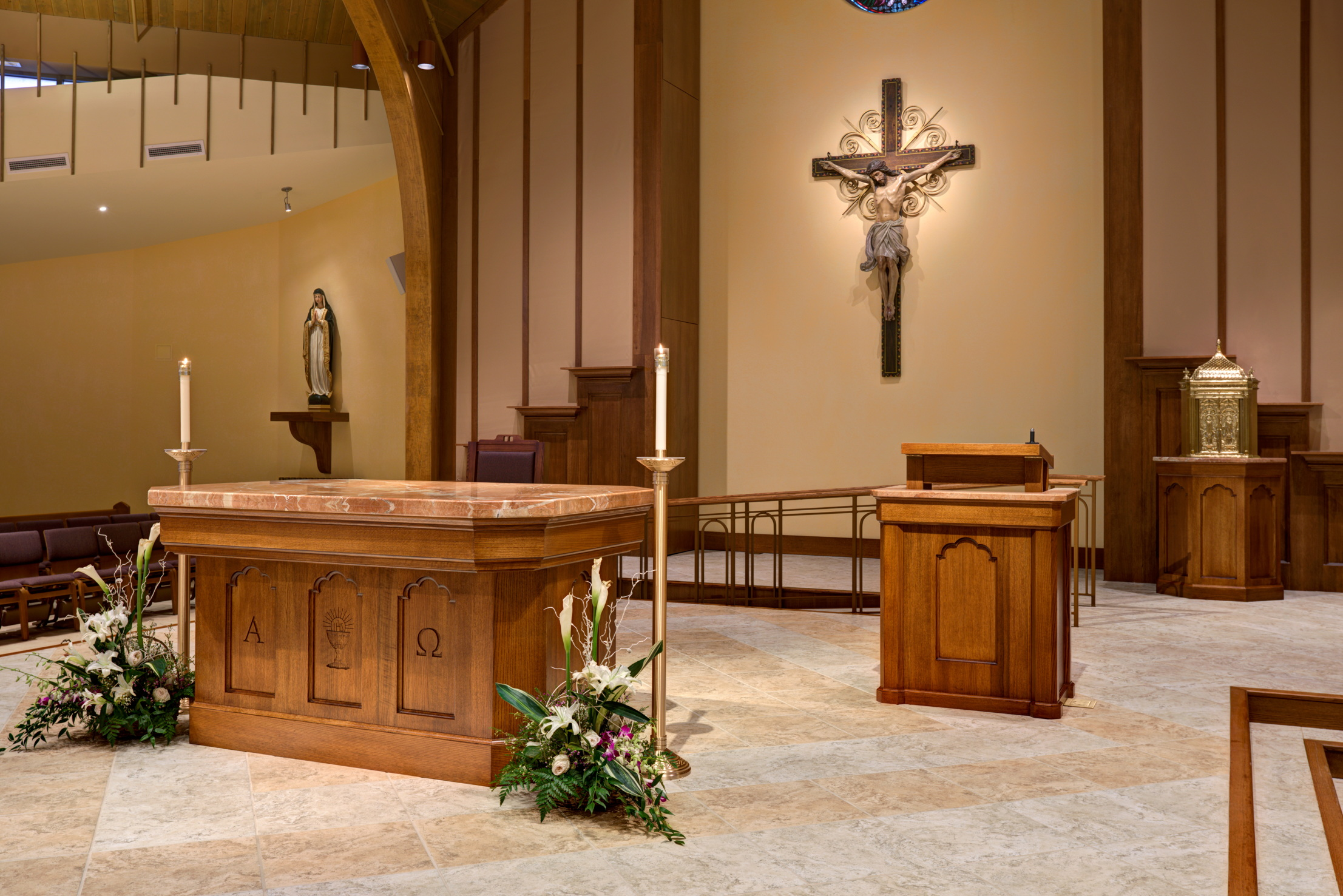 New altar table and height-adjustable ambo in the new worship space at St. Joseph Church by Foresight Architects
