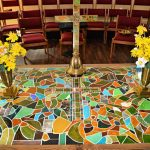 new church building, altar table, stained glass