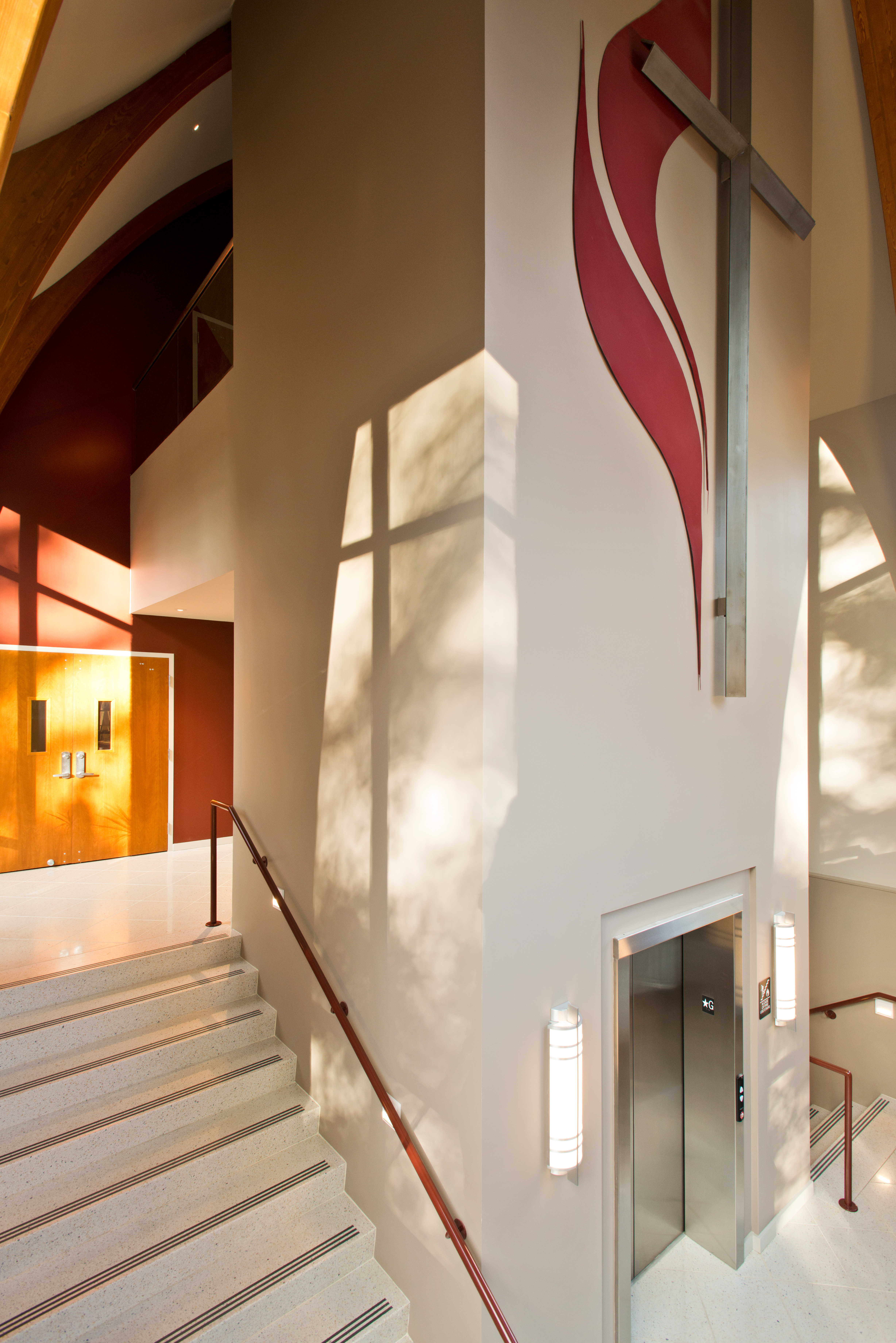 Foresight, stair, addition, interior, Delmar, Methodist, church