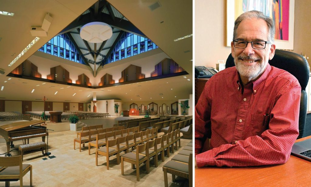 Photos of the interior of Corpus Christi Church in Round Lake, NY and of James Hundt at his desk in his office in Schenectady