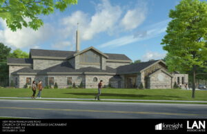 Side view of the proposed design for the new church for Most Blessed Sacrament Parish in Franklin Lakes, NJ, designed by Foresight Architects & LAN Associates