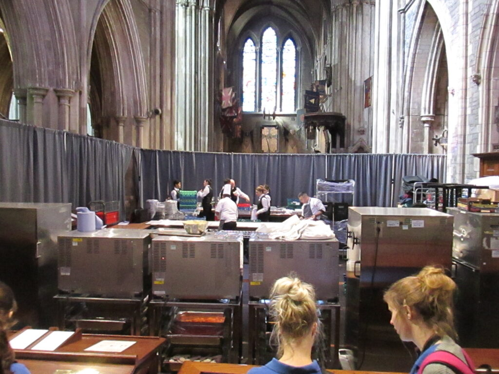 Caterers setting up in the south transept of St. Patrick's Cathedral, Dublin
