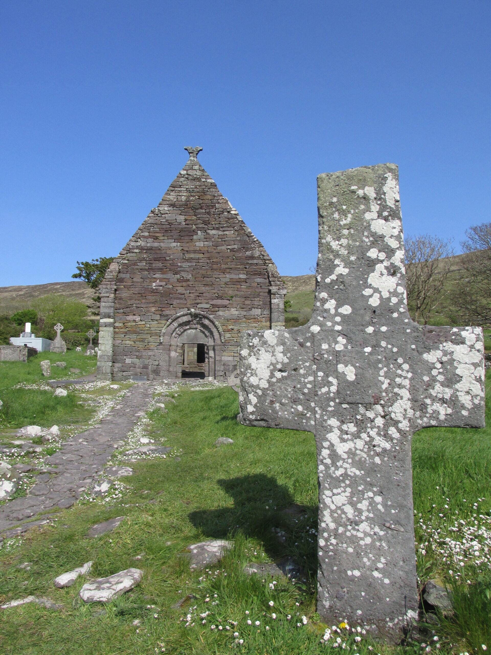 Early Christian cross at Kilmalkedar Church, Kerry