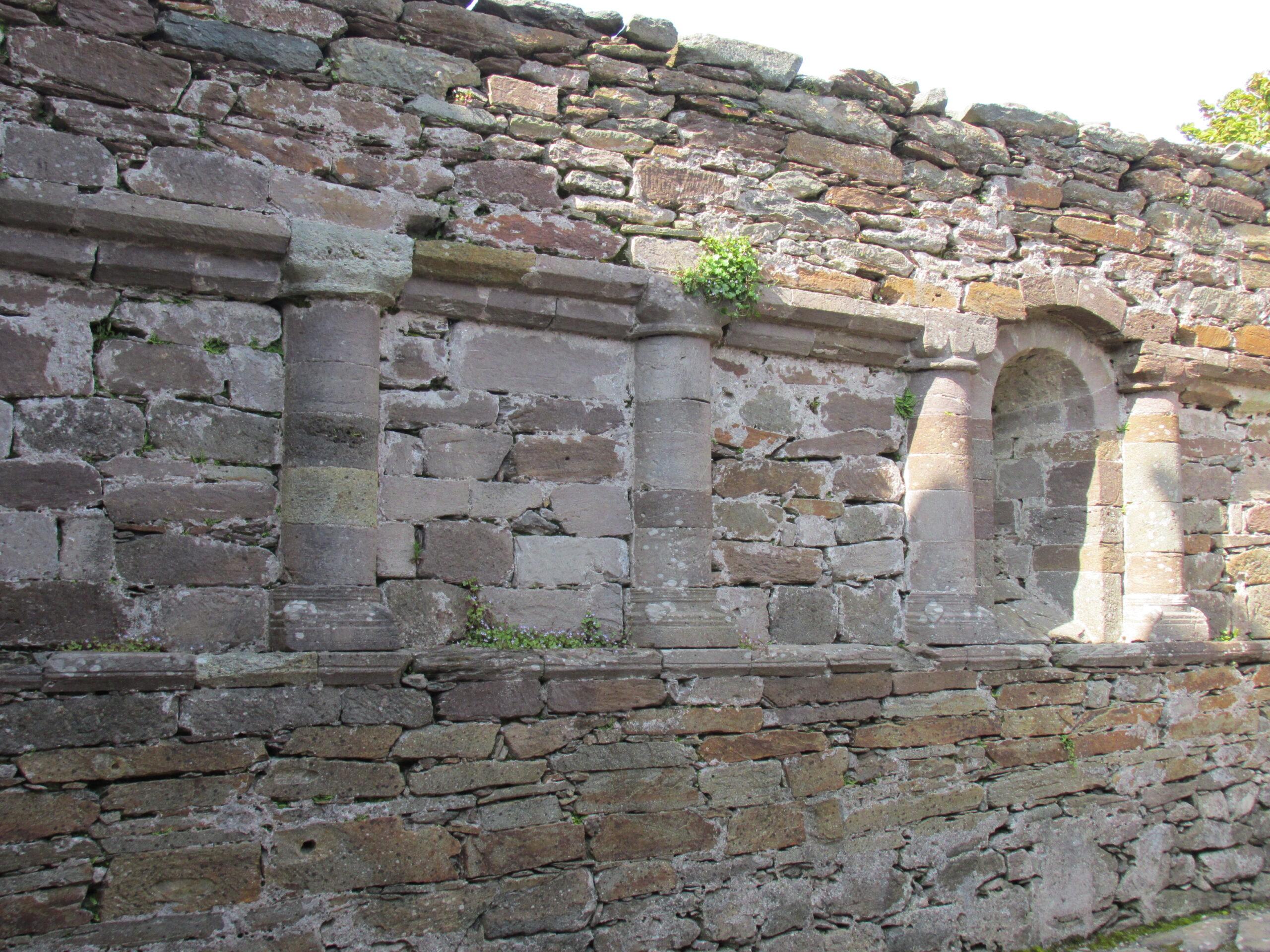 A blind arcade in the nave of Kilmalkedar Church, Kerry