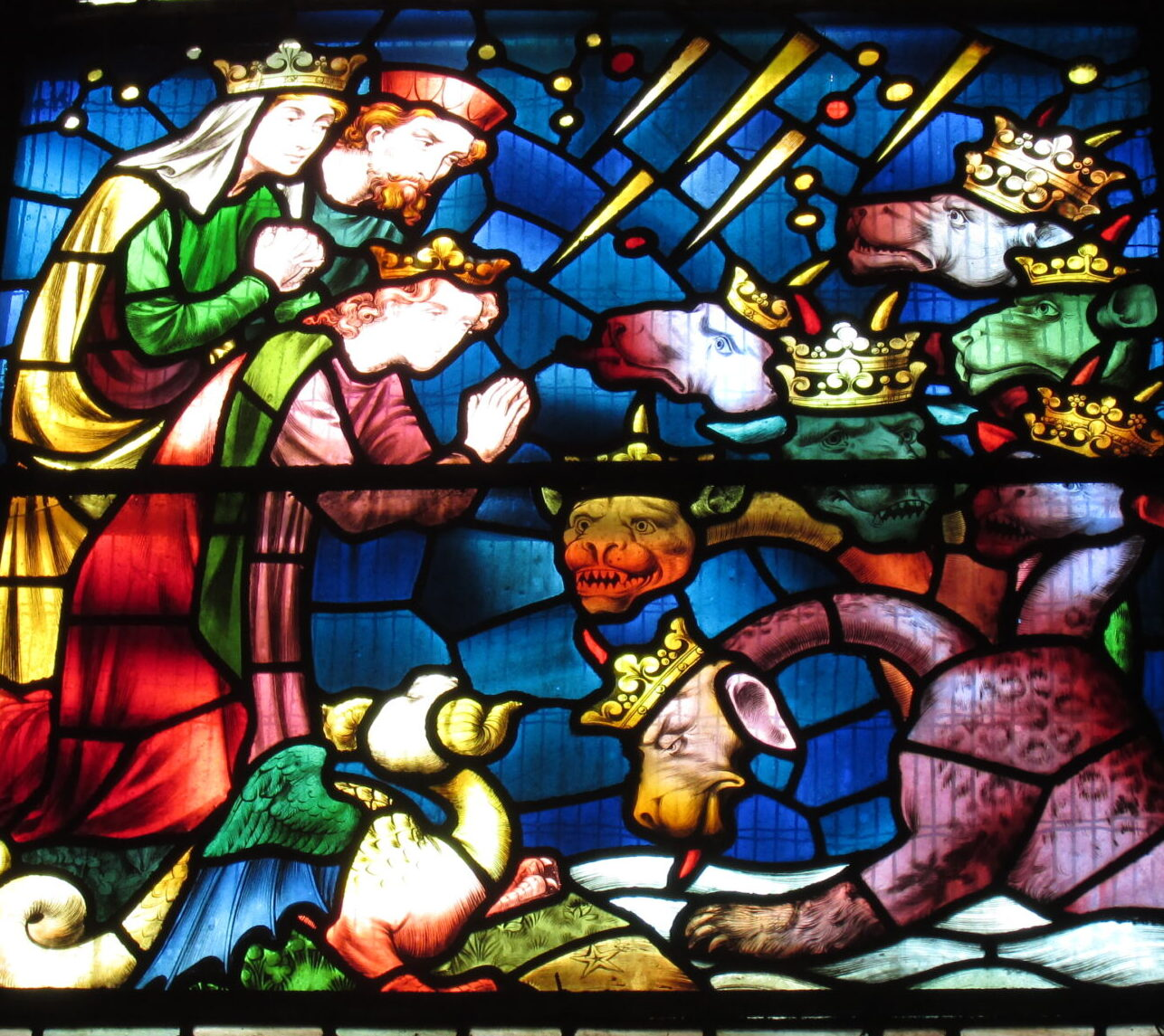 Stained glass window detail from Saint Fin Barre's Cathedral, Cork